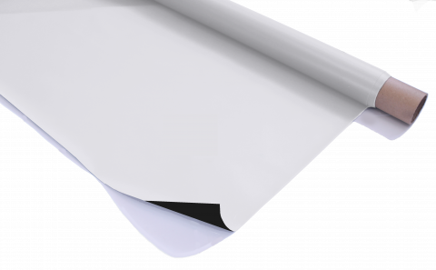 Stage Depot White / Black Projection Screen on a roll with edge folded over to show reverse side