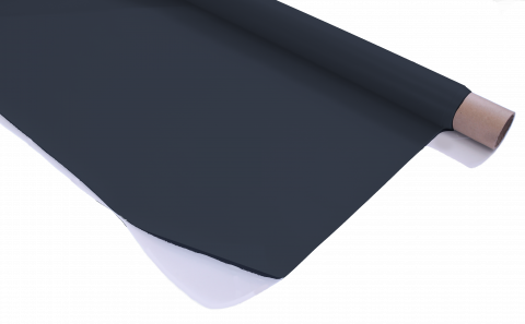 Stage Depot Black Rear Projection Screen partially unravelled from a roll