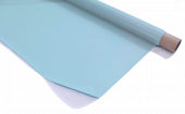 Rosco Sky Blue Projection Screen partially unravelled from a roll